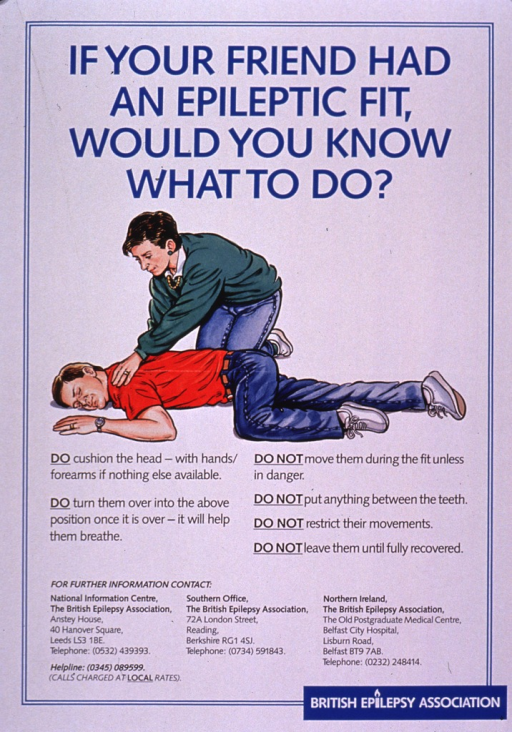 <p>Predominantly white poster with blue and black lettering.  Title at top of poster.  Visual image is an illustration of a woman kneeling near a man.  The man is lying in a prone position.  Text below illustration explains steps to take and actions to avoid in the event of a seizure.  Publisher information at bottom of poster.</p>