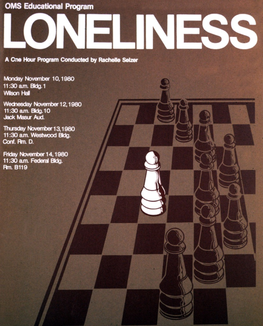 <p>Nine pawns are on a chessboard.  One is white, and stands alone in front of the others, who are darker and stand in a wall to the white pawn's right.  The dates of the lectures are Nov. 10, 12, 13, and 14, 1980.</p>