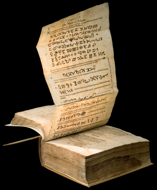 <p>Foldout page from Lvdicrvm chiromanticum Praetorii, seu Thesaurus chiromantiae. Pompeius's Chiromantiae praecognita is supported by a foldout page listing the nota, symbols that are drawn by connecting the points in the hands.</p>