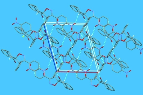 The crystal packing of (I), viewed down the b axis. The C—H···O contacts are shown as dashed lines. H atoms not involved in C—H···O contacts have been omitted for clarity.