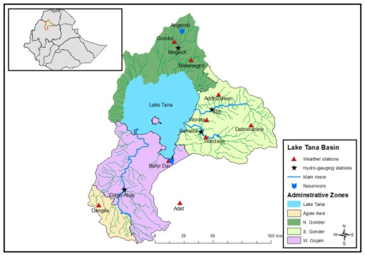 The location of the Lake Tana basin in the Ethiopian and the Upper Blue Nile Basin system with meteorological and river gauging station locations.
