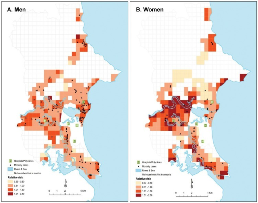 Spatial variation of risk for prime-age adult men and women mortality in a covariate model, Nha Trang, Vietnam, 2001-2002.