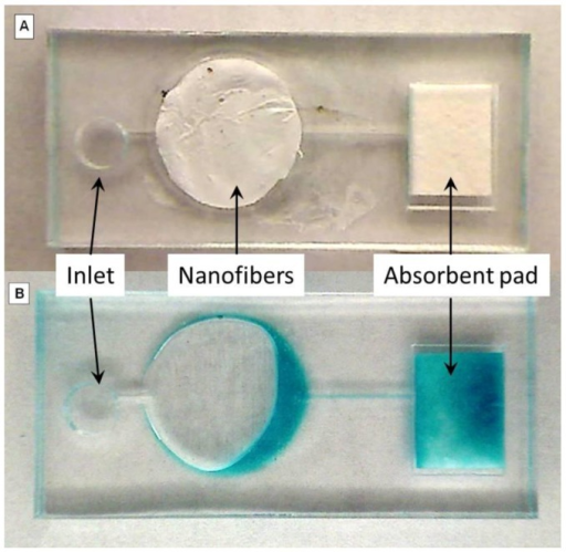 Images of electrospun nanofiber in microfluidic chip. The image demonstrates how a nanofiber mat can be incorporated into a microfluidic chip. The images are before (A) and after (B) 100μL of a 1-step TMB reaction solution was added. The color change was observed after approximately 60 s.