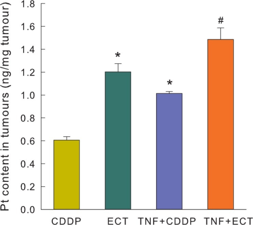 Platinum content in tumours 24 h after different treatments. Increased platinum uptake was observed after electrochemotherapy and exposure to TNF-α. Bars represent mean ± SEM. * p<0.05 vs. CDDP, # p<0.05 vs. CDDP, ECT and TNF+CDDP.