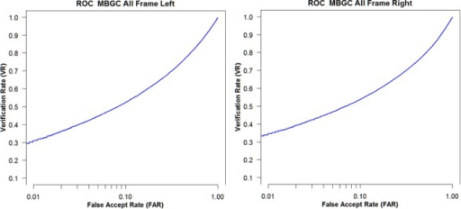 VASIR iris recognition performance using MBGC All Frames dataset for left and right.