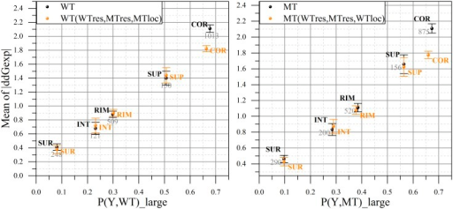 "Distribution of mutated residue location (WT, left panel; MT, right panel) by ""small/large effect"" regions of experimentally obtained change in binding free energy in sDB.On the x-axis: the probability of the WT (left panel) and MT (right panel) residues being in the given location cause large change in binding free energy. On the y-axis: the averaged absolute value of experimental ΔΔG provided with standard error of mean at an error bar and the total number of cases across whole sDB. The actual data is presented in black color, while the orange one is based on the weighted distribution of /ΔΔG/."
