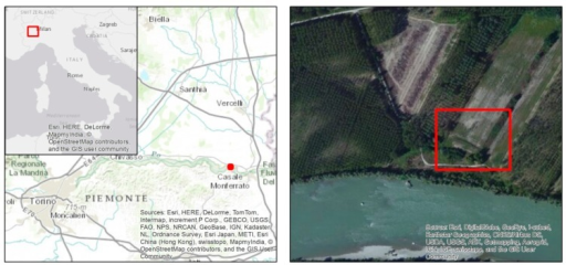 Deployment exercise location (left) and detail of the area to be mapped (right).