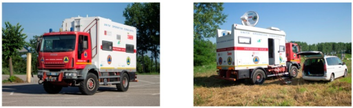 "The Regional Civil Protection Mobile Unit, fully equipped with a complete ""office"" package (including web satellite connectivity): on its way to the test site (left) and deployed in the field (right)."