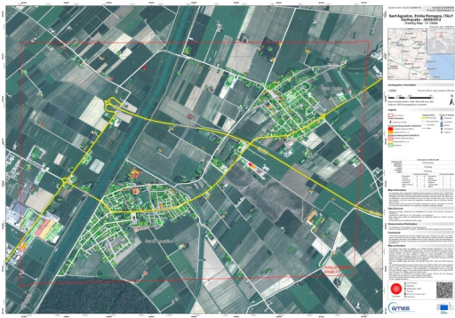 Example of post-event damage assessment map based on both aerial and satellite imagery (Copernicus Emergency Management Service–Mapping [26]).