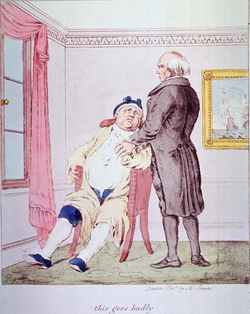 <p>Caricature:  An overweight patient is sitting in a chair and having his pulse taken by a physician standing to his left.</p>