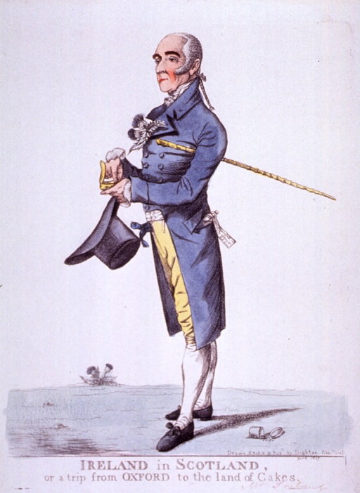 <p>Full length, left pose; holding top hat, cane under arm.</p>