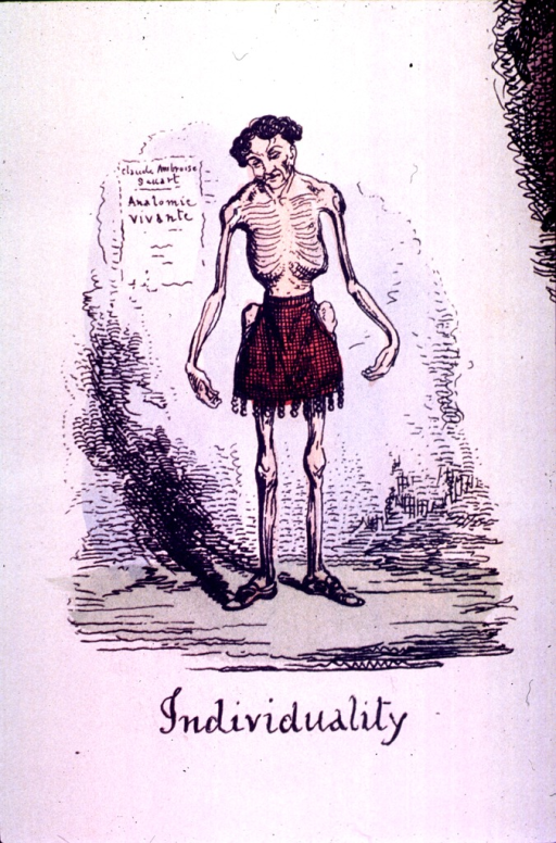 <p>A skeleton of a man is standing in front of a sign: Claude Ambroise [uncertain], anatomic vivante.</p>