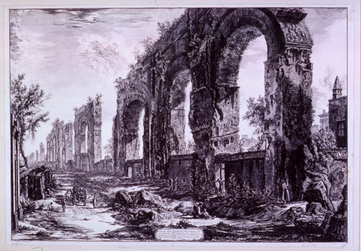 <p>View of the eighth Roman aqueduct, completed in 50 A.D. under the Emperor Claudius I.</p>