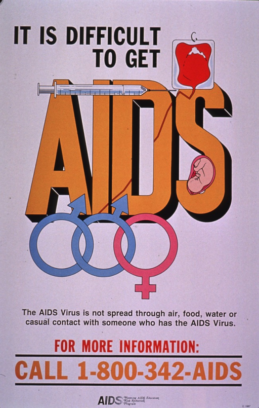 <p>Predominantly white poster with multicolor lettering.  Title in upper portion of poster.  Visual images are illustrations of an IV bag of blood, a syringe, a fetus, and interlinked symbols for male and female.  The symbols suggest a male-male couple and male-female couple.  Caption below illustrations.  Hotline number and publisher information at bottom of poster.</p>