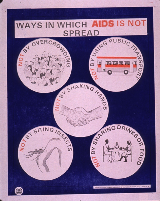 <p>Predominantly blue poster with black and red lettering.  Title near top of poster.  Visual images are illustrations depicting ways in which AIDS is not transmitted, including a crowd of people, a bus, two hands giving a handshake, an insect biting an arm, and a three-member family sharing food at a table.  Explanatory text accompanies the illustrations.  Publisher information in lower right corner.</p>