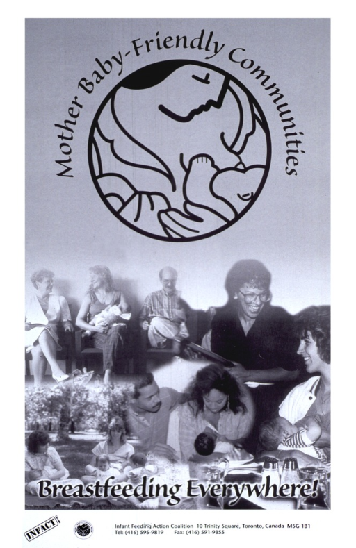 <p>Black and white poster with World Breastfeeding Week logo prominantly on top below title.  Visual image is a collage of photos of men, women and babies.  The women in the photos are breastfeeding in various locations. Publisher information and logo at bottom of poster.</p>