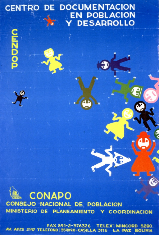 <p>Bright blue poster with white and yellow lettering.  Title at top of poster.  Note on left side of poster.  Visual images are abstract illustrations of human figures.  Publisher information at bottom of poster.</p>