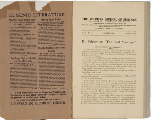 <p>Image of journal caption page which includes the article &quot;Dr. Saleeby on &quot;the ideal marriage&quot;&quot; by Raymond Parnell.  Facing page contains abstracts of four books on eugenics.</p>