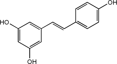 Chemical structure of resveratrol.