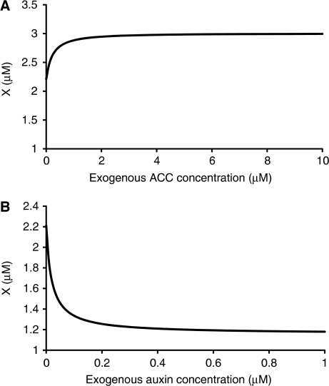 Prediction of response of unknown molecule, X, to exogenous ACC (A) and auxin (B) shows response of X to exogenous ACC and auxin follows opposite trends.