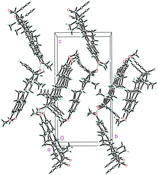 The crystal structure of the title compound, viewed along the a axis. Dashed lines indicate hydrogen bonds