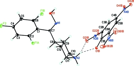 Molecular structure of the title compound, C12H15F2N2O+ C6H2N3O7-, showing the cation-anion unit that comprises the asymmetric unit, the disorder of F1 (F1A & F1B) over two positions (C2 & C6) in the 2,4-difluorophenyl group of the cation, the atom labeling scheme and 50% probability displacement ellipsoids.