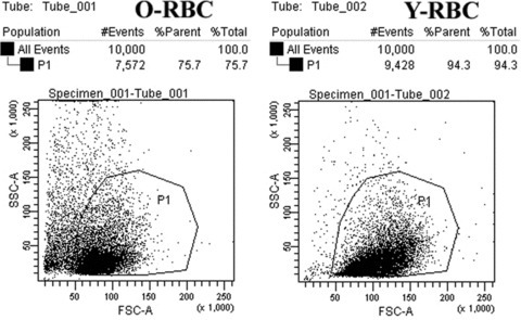 The flow cytometry on the size and density of O-RBCs (left) and Y-RBCs (right).