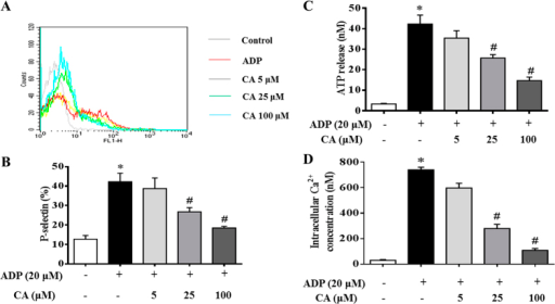 Inhibitory effects of CA on granule secretion, P-selectin expression, ATP release, and Ca2+ mobilization in ADP stimulated platelets.Platelets were preincubated with or without CA in the presence of CaCl2 (1 mM) at 37 °C for 20 min. The cells were then incubated with ADP (20 μM) for 20 min before P-selectin expression (A,B), ATP release (C), and Ca2+ levels (D) were analyzed. (A) A typical flow cytometry result showing P-selectin expression in different conditions. (B) A quantitative assessment of P-selectin expression in different conditions with data from at least four independent experiments. (C) A quantitative assessment of ATP release in different conditions. (D) A quantitative assessment of intracellular calcium mobilization in different conditions. Data are expressed as means ± SEM (n = 10). *p < 0.05 vs control group, #p < 0.05 vs ADP group.