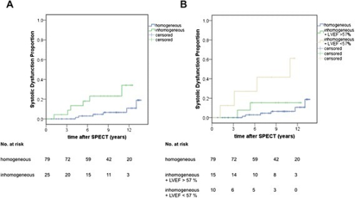 Cumulative incidence of allograft dysfunction. Comparison between patients with homogeneous and inhomogeneous perfusion (a) and more differentiated in patients with inhomogeneous perfusion and LVEF > versus <57 % (b)