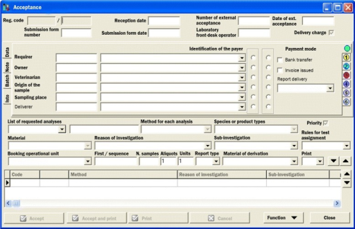 GUI at the lab's reception. Graphical user interface (GUI) translated, original in Italian
