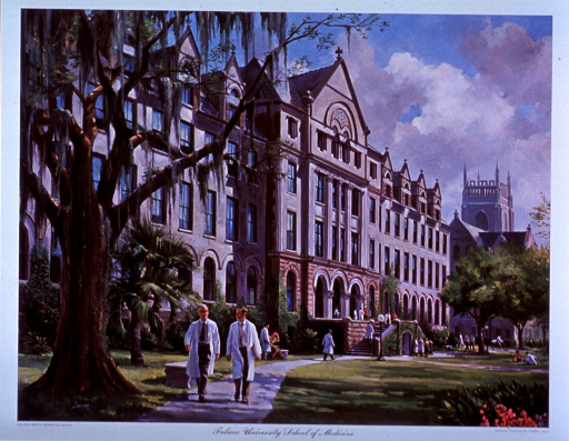 <p>Exterior view: people are on the steps and in front of the Richardson Memorial Building; others are sitting on the grass and on benches; in the foreground there is a palm and a willow tree; two men are walking away from the building.</p>