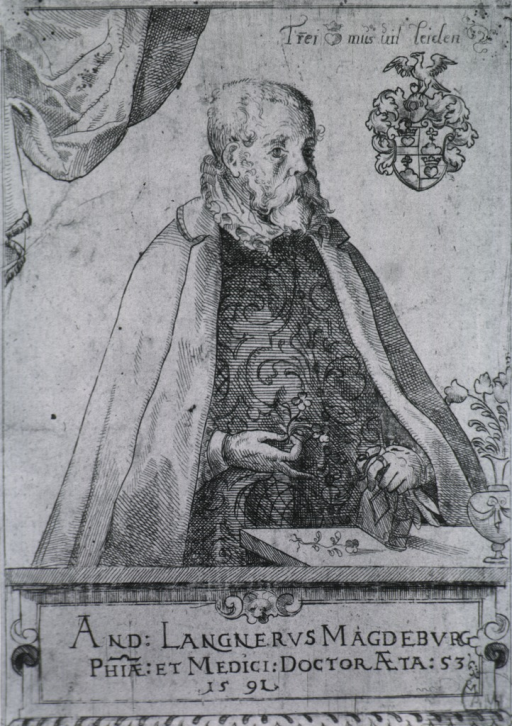 <p>Half-length, standing by table, right pose; wearing cloak; showing coat-of-arms.</p>