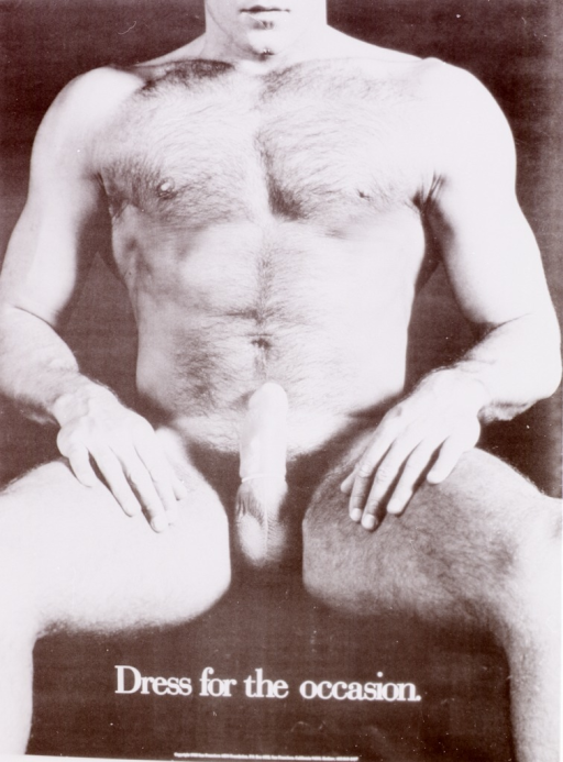 <p>Poster promoting safe sex.  Visual motif: nearly full-length view of a seated nude male, fully erect and modeling a condom.</p>