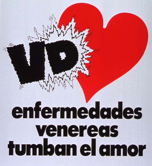 <p>White poster with black lettering.  Poster dominated by title.  Visual image is a red heart.  The &quot;VD&quot; of the title collides with the heart.</p>