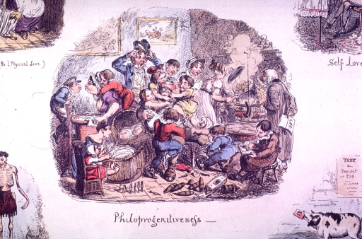 <p>Children are climbing on a man sitting in a chair and on a woman in front of a laundry basket set on a chair.  Two women are standing over a pot cooking.  A child, sitting on a stool, is writing.</p>
