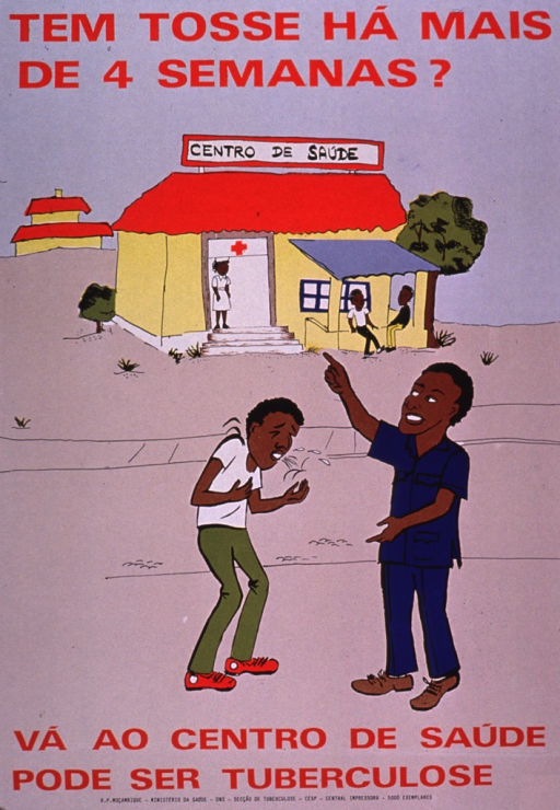 <p>Multicolor poster with red lettering.  Title at top of poster.  Visual image is an illustration of two men meeting in the street.  One coughs and the other points to a health center in the background.  Caption and publisher information at bottom of poster.  Caption urges going to a health center, as the cough could be tuberculosis.</p>