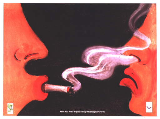<p>At either side of the poster is a profile of a person with red lips.  The one on the left is smoking a cigarette.  The smoke is crossing into the nostrils of the second person, who is making a face of disgust.</p>