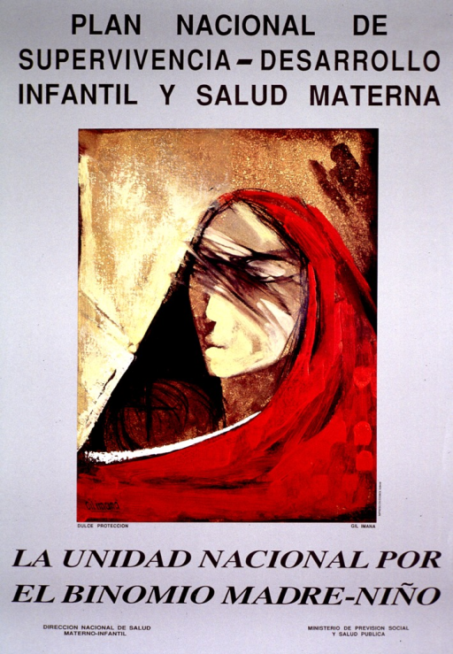 <p>Gray poster with black lettering.  Title at top of poster.  Visual image is a reproduction of a painting by Gil Imana entitled Sweet protection.  It is slightly abstract and appears to be a mother and child wrapped in a red shawl.  Note below painting.  Publisher information at bottom of poster.</p>