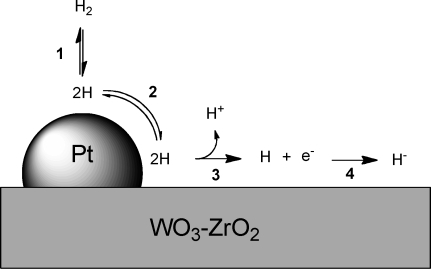 Homolytic cleavage of hydrogen on platinum and subsequent spillover.