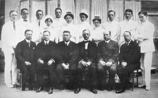 The Harvard Unit at the American Ambulance (World War I Hospital) at Lycee Pasteur Neuilly, Paris, April 1915. Standing: Wilson, Benet, Barton, Rogers, Coller, Cutler, Smith-Petersen. Nurses: Wilson, Cox, Martin, Parks. Seated: Boothby, Beth Vincent, Greenough, Harvey Cushing, Strong, Osgood39. Harvey Cushing's journal today fills nine bound volumes (one million words) in his library at Yale. Elliott Cutler succeeded Harvey Cushing as Moseley Professor of Surgery at Harvard, and during World War II was on the Allied Surgical Consultants committee with Sir Ian Fraser59 and my father60.