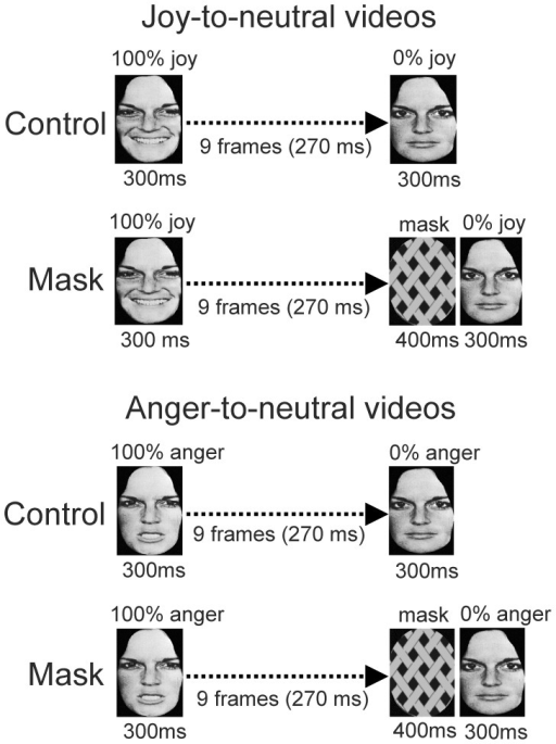 Illustration of the stimulus presentations in Experiment 4.Joy-to-neutral videos (top panel) and Anger-to-neutral videos (bottom panel) in the Control and Mask conditions are shown.