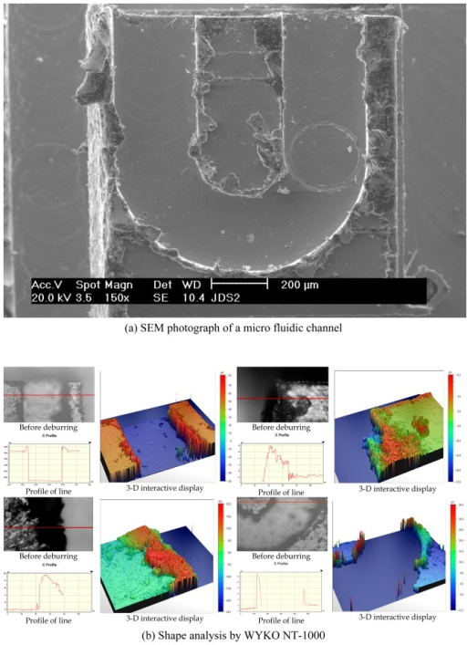 Shapes and analysis of micro fluidic channels machined by micro end-milling.