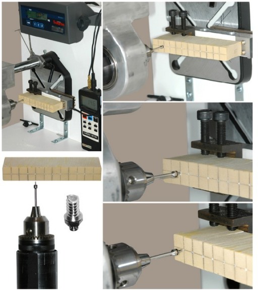 The equipment used for bone screw insertion in high-density artificial bone (0.80 g/cm3) and fracture.