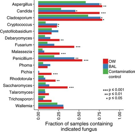 Presence-absence analysis identifies fungal genera present more often in experimental samples relative to contamination controls.Aspergillus and Penicillium are present significantly more often in oropharyngeal and lung samples relative to controls, while Pichia and Saccharomyces are present more often only in OW relative to controls. Conversely, Wallemia likely derives solely from contamination sources.