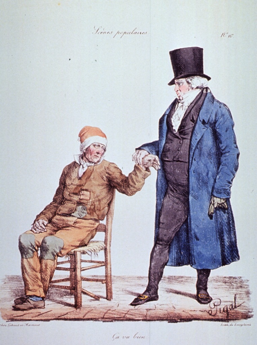 <p>Caricature:  A poor man is sitting on a chair having his pulse taken by a well-dressed physician standing to his left.</p>