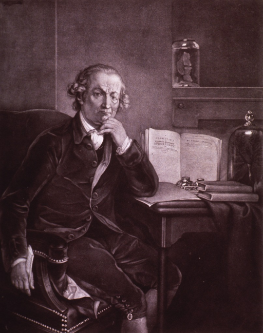 <p>Three-quarter length, seated at table, right pose, full face; hand to chin; open book on table.</p>