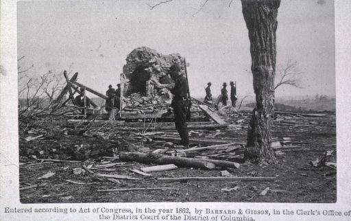 <p>Soldiers stand amidst the ruins of Mrs. Henry's house, Bull Run.</p>