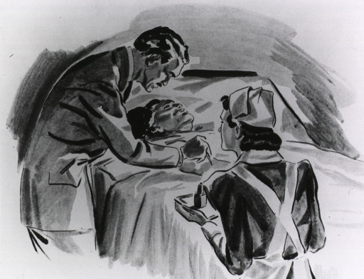 <p>Doctor administering aid to a patient lying in bed, while nurse looks on.</p>