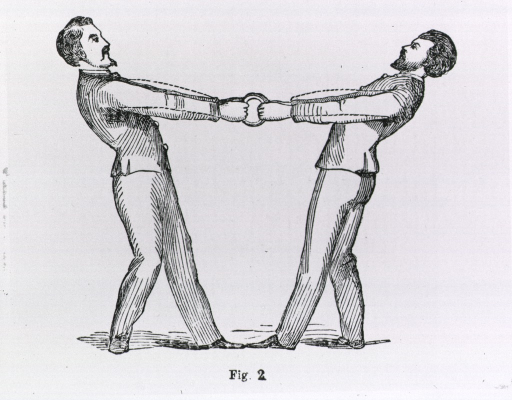 <p>Two men demonstrate the use of gymnastic rings used to exercise the flexor and extensor muscles.</p>