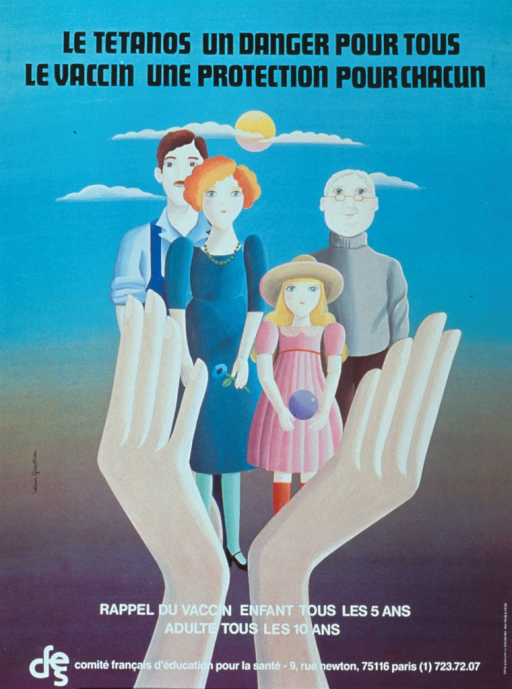 <p>Multicolor poster with black and white lettering.  Title at top of poster.  Visual image is an illustration of four people being held in a pair of hands.  The people are a middle-aged man and woman, a young girl, and an older man.  Caption below illustration is a reminder to vaccinate children every 5 years and adults every 10 years.</p>